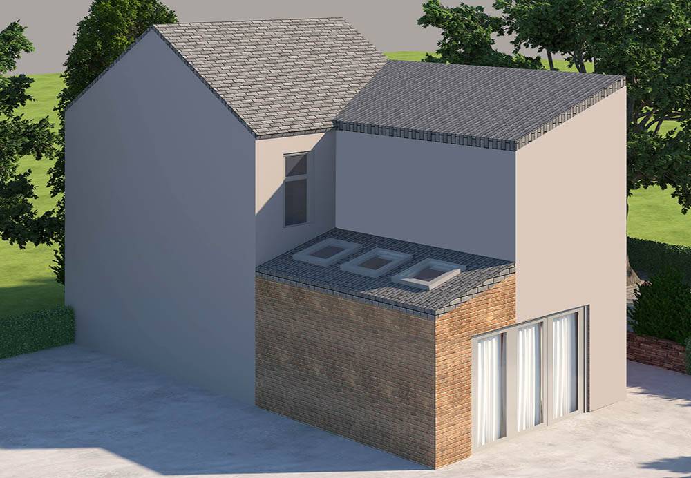 side home extension render