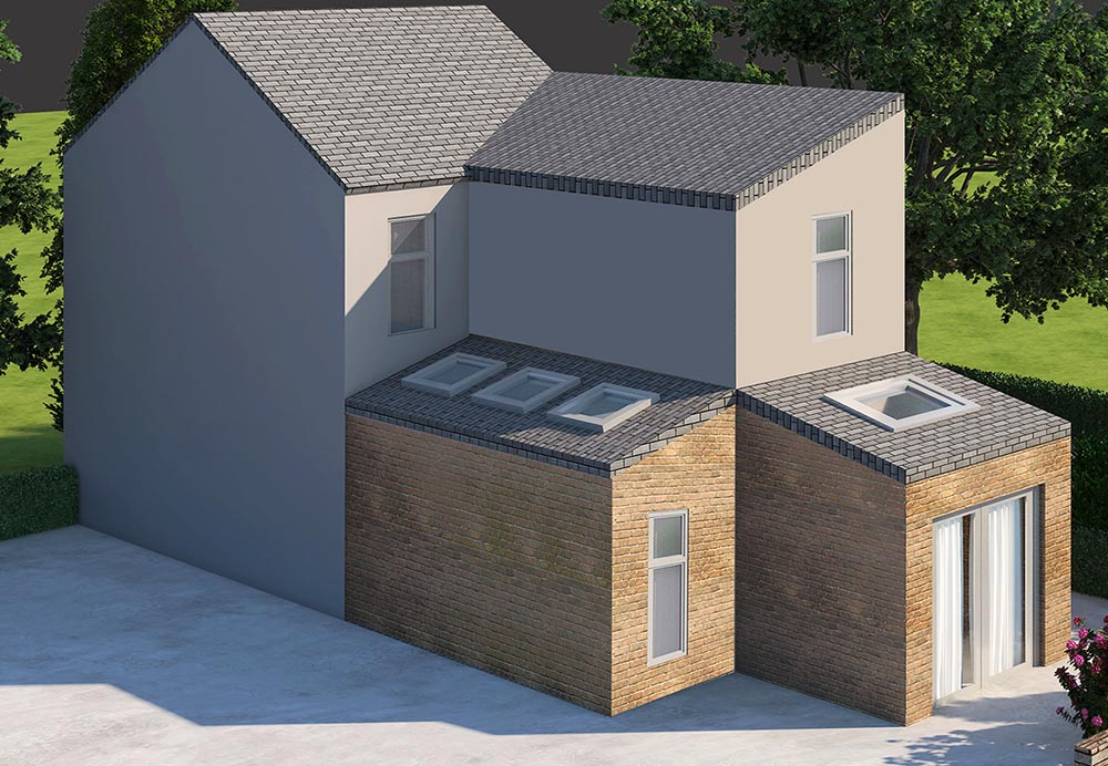 side and rear home extension render
