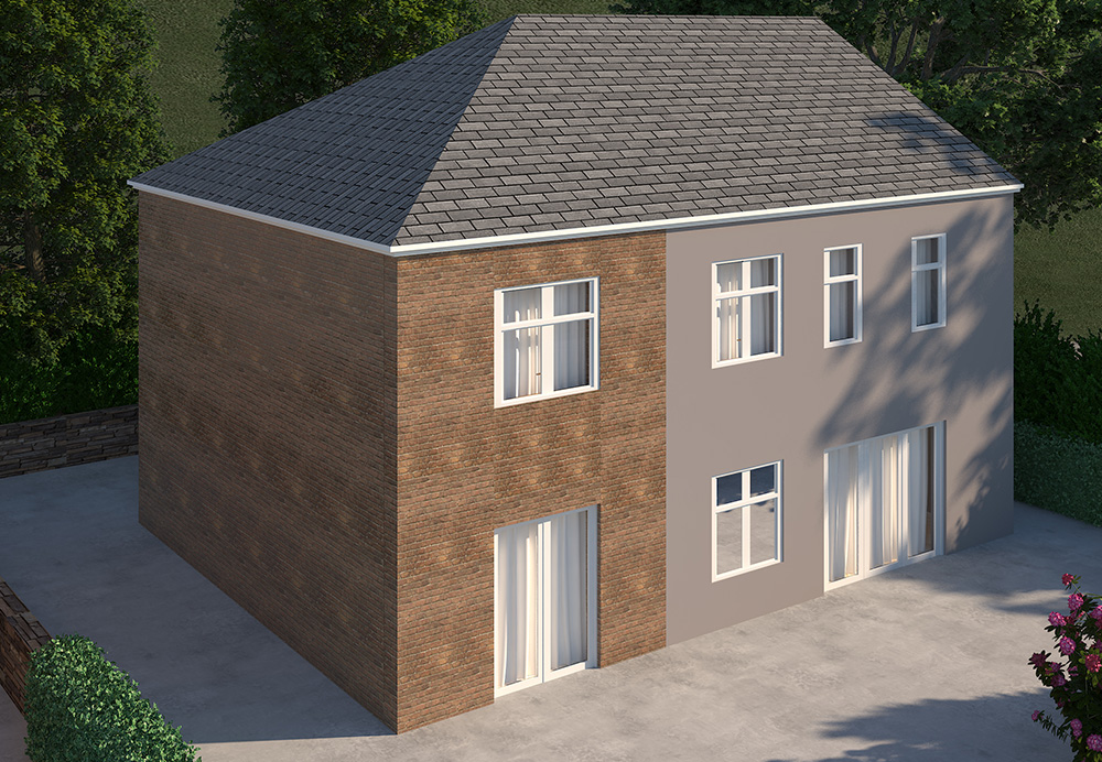 multi storey side extension render