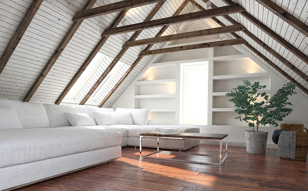 beautiful living room in loft