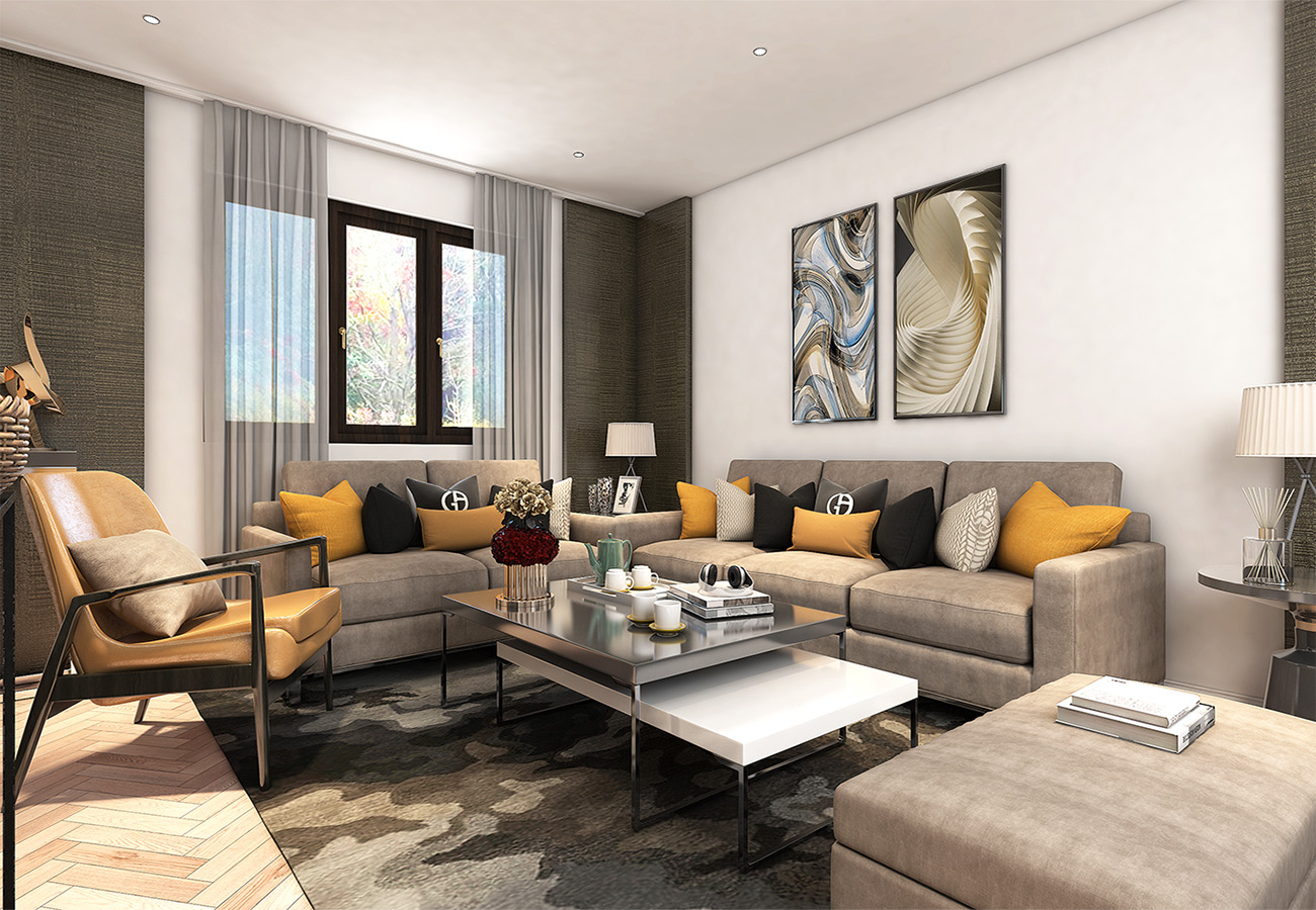 modern living room design with sofa set and sceneries