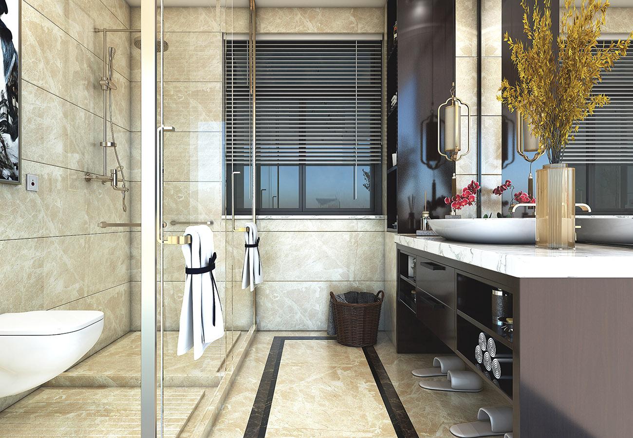 modern bathroom with glass door interior