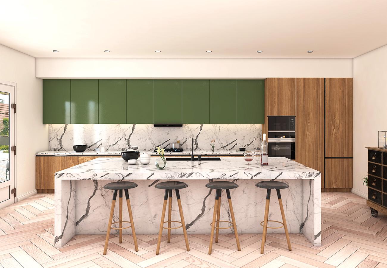 kitchen design with granite countertop
