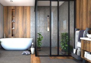 modern bathroom design with bath tub