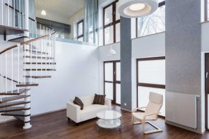 Twirling wooden staircase design for interiors