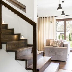 Beautiful in-line glass staircase design