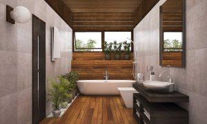 Rustic meeting modernist bathroom designs
