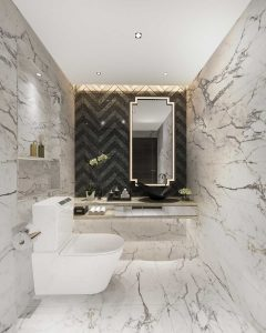 Bathroom design with marble finish
