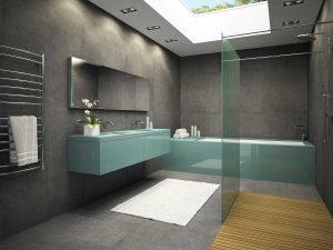Bathroom design in dark hues